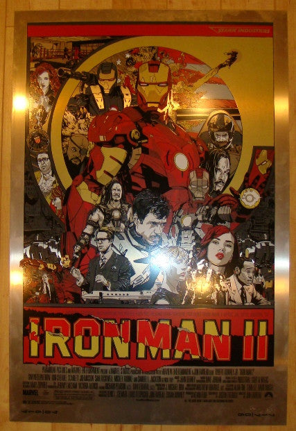 "2010 ""Iron Man 2"" - Metal Variant Silkscreen Movie Poster by Tyler Stout"