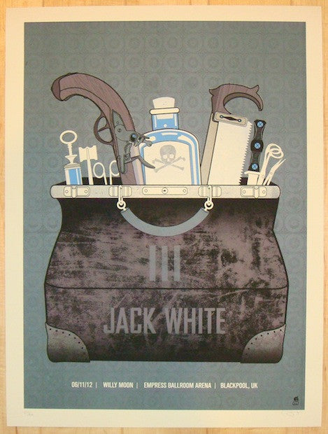 2012 Jack White - Blackpool Silkscreen Concert Poster by Methane