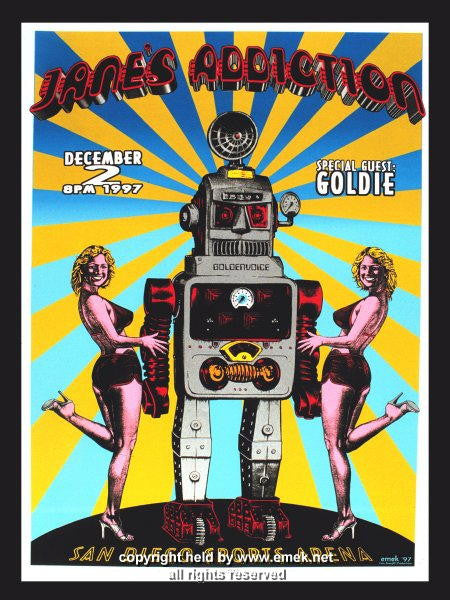 1997 Jane's Addiction Silkscreen Concert Poster by Emek
