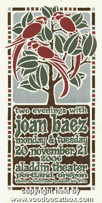 2006 Joan Baez Silkscreen Concert Poster by Gary Houston