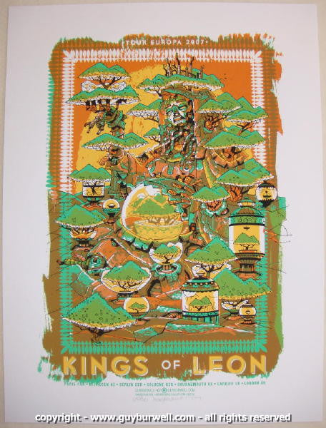 2007 Kings of Leon Silkscreen Concert Poster by Guy Burwell