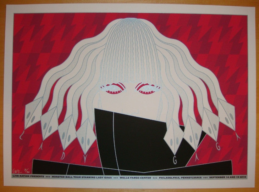 2010 Lady Gaga - Philly Silkscreen Concert Poster by Todd Slater