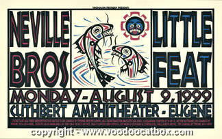 1999 Neville Brothers & Little Feat Concert Poster Gary Houston