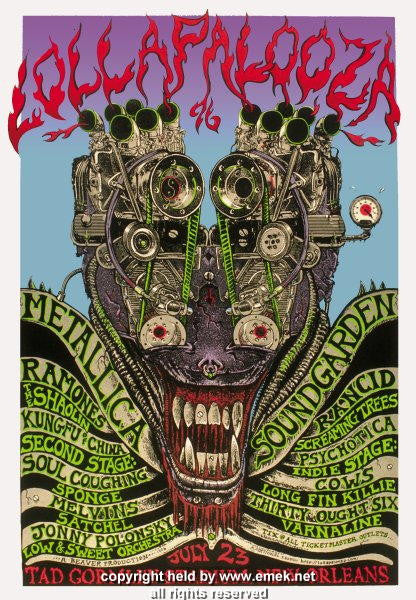 1997 Lollapalooza w/ Soundgarden & Metallica Poster by Emek
