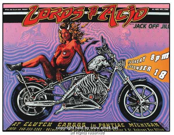 1997 Lords of Acid Silkscreen Concert Poster by Emek