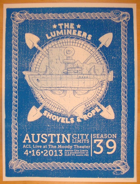 2013 The Lumineers - Austin Concert Poster by Nick Bell