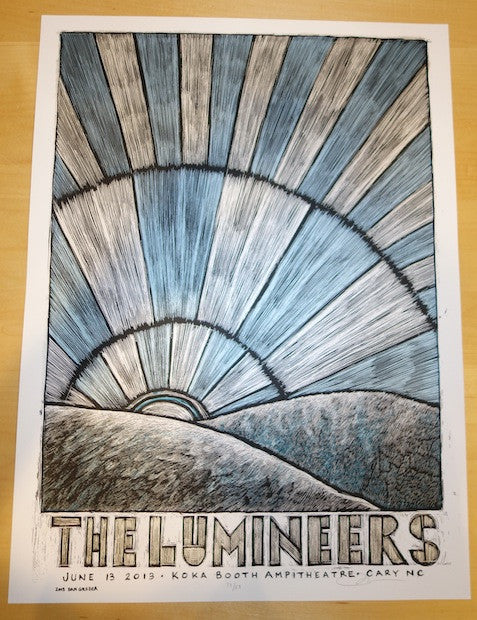 2013 The Lumineers - Cary Silkscreen Concert Poster by Grzeca
