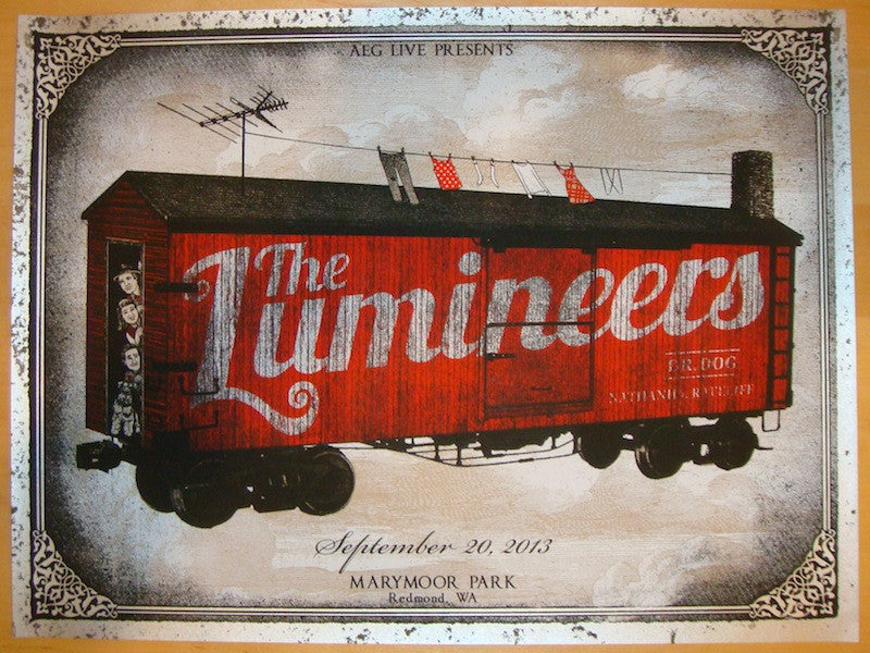 2013 The Lumineers - Redmond I Concert Poster by Jon Smith