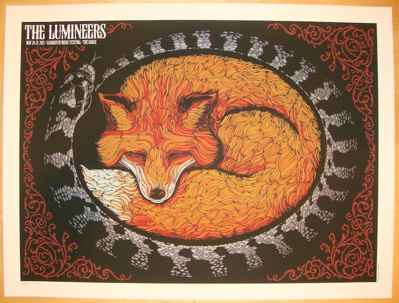 2013 The Lumineers - Sasquatch! Concert Poster by Todd Slater