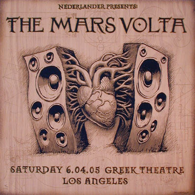 2005 The Mars Volta - LA Wood Variant Concert Poster by Emek