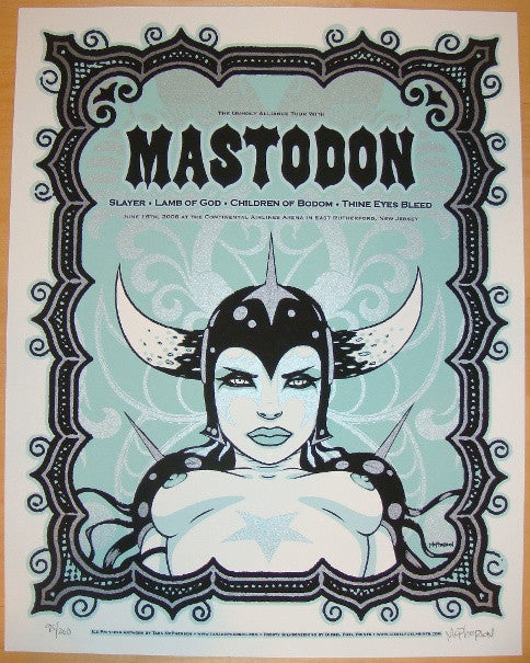 2006 Mastodon & Slayer - Concert Poster by Tara McPherson