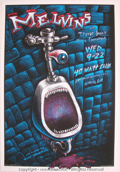 2004 The Melvins - Athens Silkscreen Concert Poster by Emek