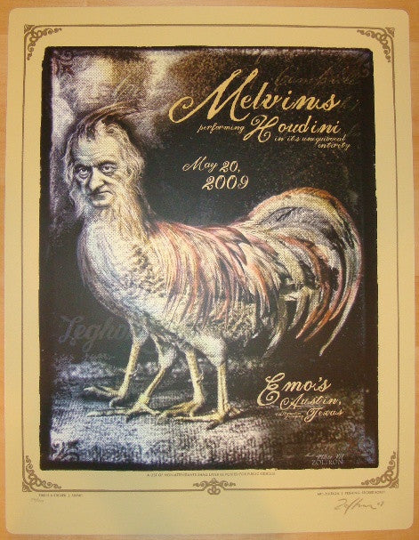 2009 The Melvins - Austin Silkscreen Sticker Poster by Zoltron
