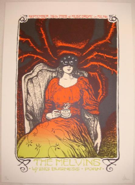2008 The Melvins & Big Business Milan Concert Poster by Malleus