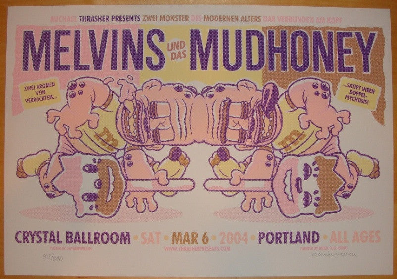 2004 The Melvins & Mudhoney - Portland Poster by Guy Burwell