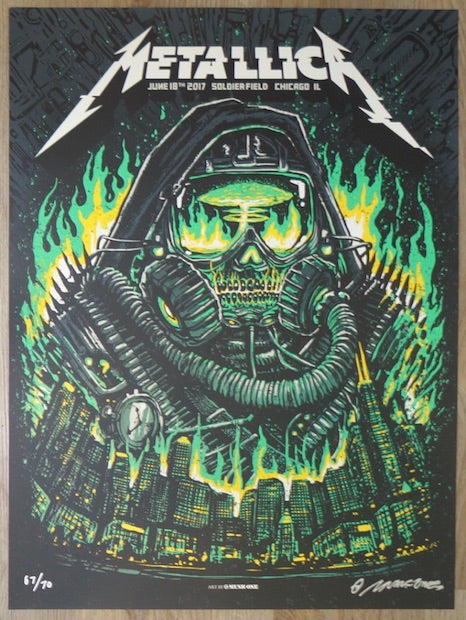 2017 Metallica - Chicago Glow Variant Silkscreen Concert Poster by Munk One