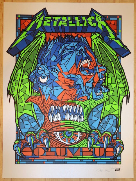 2017 Metallica - Columbus Pearl Variant Silkscreen Concert Poster by Ames