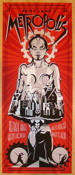 "2012 ""Metropolis"" - Red Silkscreen Movie Poster by Reyes"