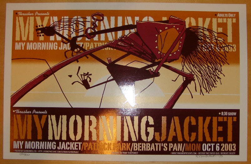 2003 My Morning Jacket - Portland Concert Poster by Guy Burwell