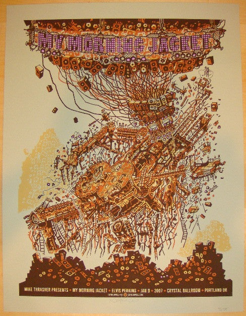 2007 My Morning Jacket - Green Test Proof Poster by Guy Burwell