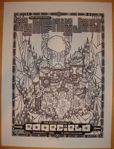 2008 My Morning Jacket - Troutdale B/W Concert Poster by Burwell