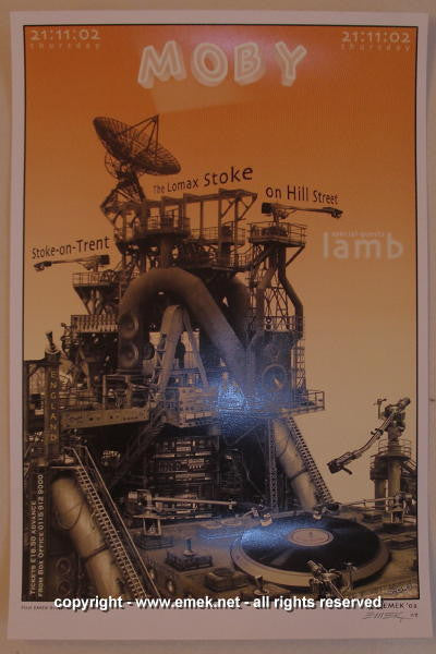2002 Moby w/ Lamb Offset Concert Poster by Emek