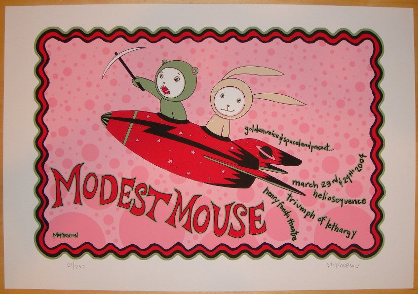 2004 Modest Mouse - Silkscreen Concert Poster by Tara McPherson