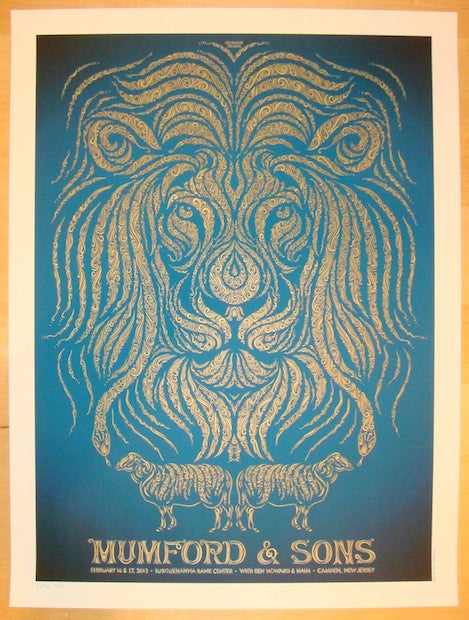 2013 Mumford & Sons - Camden Blue Variant Concert Poster by Todd Slater