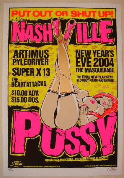 2004 Nashville Pussy - NYE Silkscreen Concert Poster by Stainboy