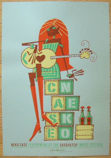 2006 Neko Case - Sasquatch! Green Variant Poster by Guy Burwell