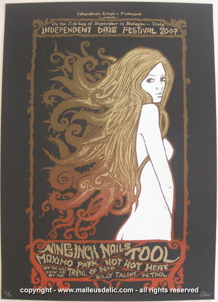 2007 Nine Inch Nails & Tool Silkscreen Concert Poster by Malleus