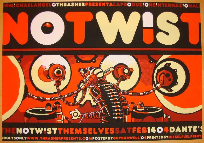 2004 The Notwist - Silkscreen Concert Poster by Guy Burwell