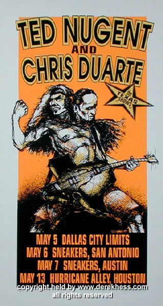 1994 Ted Nugent w/ Chris Duarte (94-12) Concert Poster by Hess