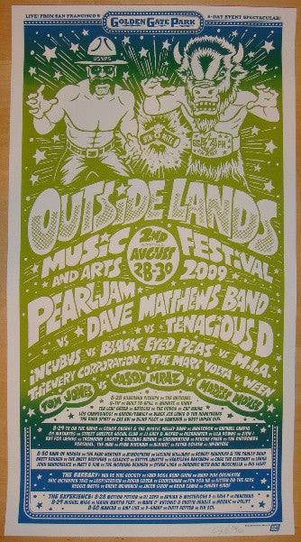 2009 Outside Lands Music Festival Poster Silkscreen AE by Ames