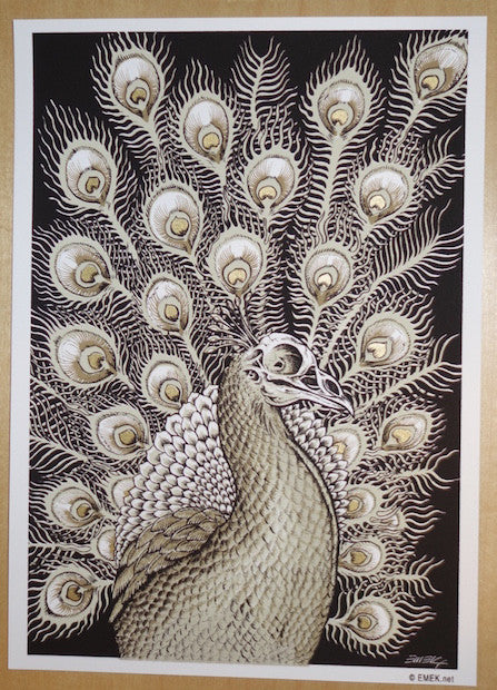 2005 Peacock - Brown/Gold Silkscreen Handbill by Emek