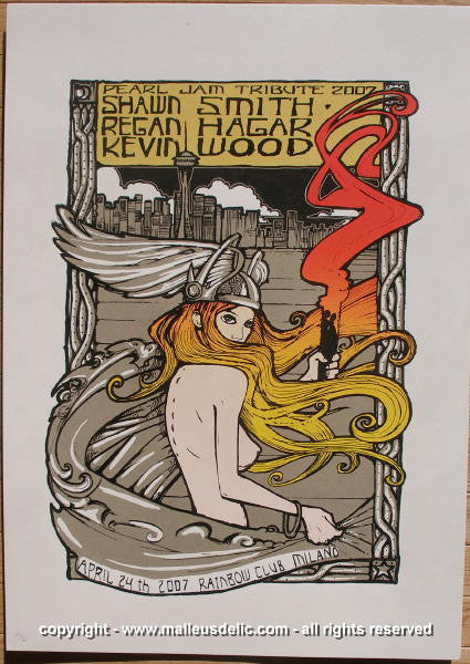 2007 Pearl Jam Tribute Silkscreen Concert Poster by Malleus