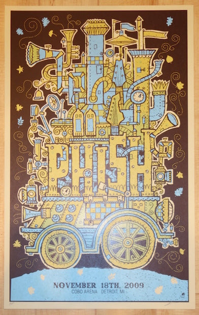 2009 Phish - Detroit Silkscreen Concert Poster by Methane