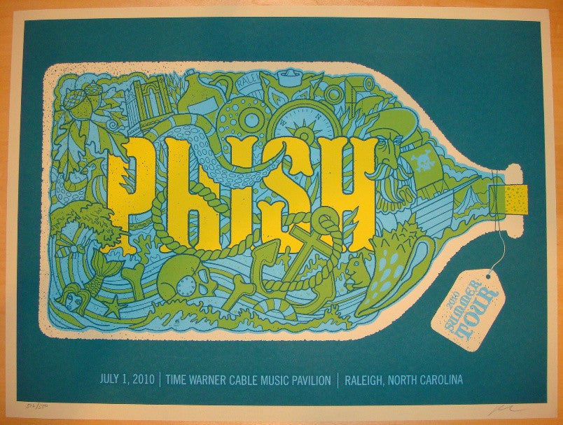 2010 Phish - Raleigh Silkscreen Concert Poster by Methane