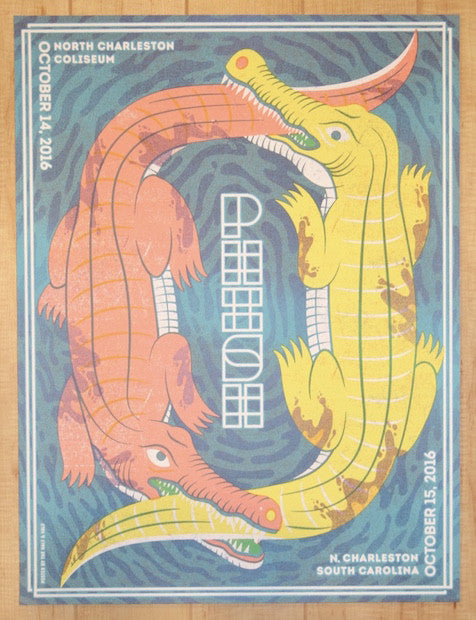 2016 Phish - North Charleston Silkscreen Concert Poster by Half and Half