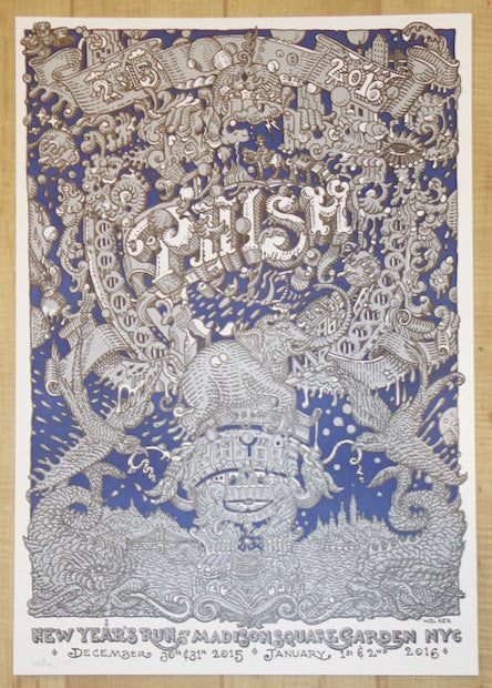 2015 Phish - NYC NYE Letterpress Concert Poster by David Welker