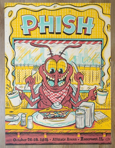 2018 Phish - Chicago Silkscreen Concert Poster by Burrito Breath