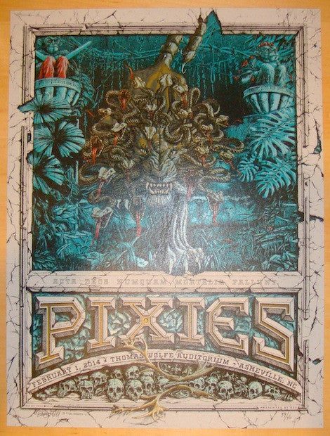 2014 The Pixies - Asheville Variant Concert Poster by Moctezuma