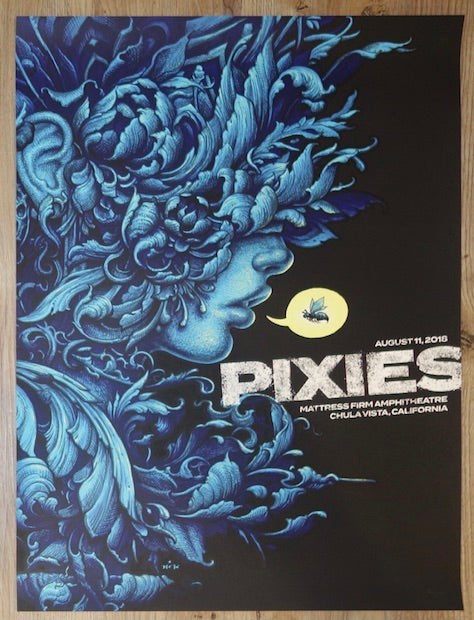 2018 The Pixies - Chula Vista Silkscreen Concert Poster by N.C. Winters