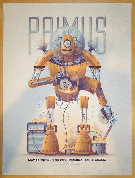 2014 Primus - Birmingham Silkscreen Concert Poster by DKNG
