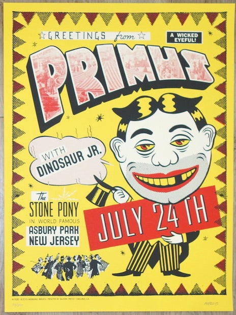 2015 Primus - Asbury Park Silkscreen Concert Poster by Morning Breath