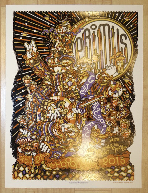 2015 Primus - Huntington Silkscreen Concert Poster by Guy Burwell