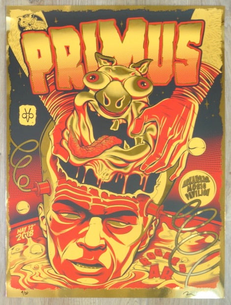 2018 Primus - Rogers Gold Foil Variant Silkscreen Concert Poster by Zombie Yeti