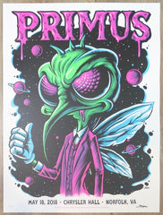 2018 Primus - Norfolk Silkscreen Concert Poster by Brandon Heart