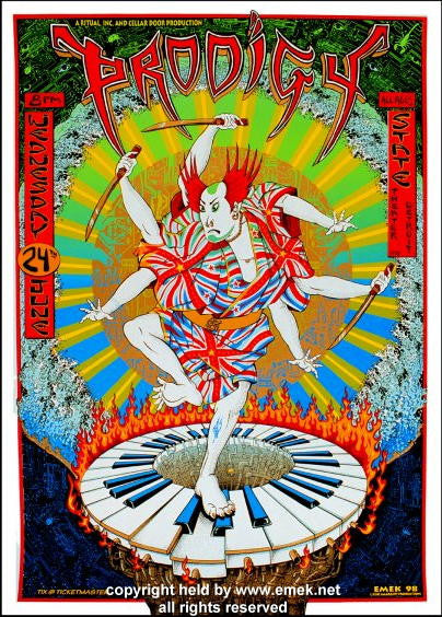1998 The Prodigy Silkscreen Concert Poster by Emek