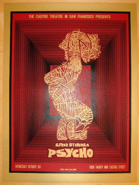 "2010 ""Psycho"" - Red Silkscreen Movie Poster by David O'Daniel"